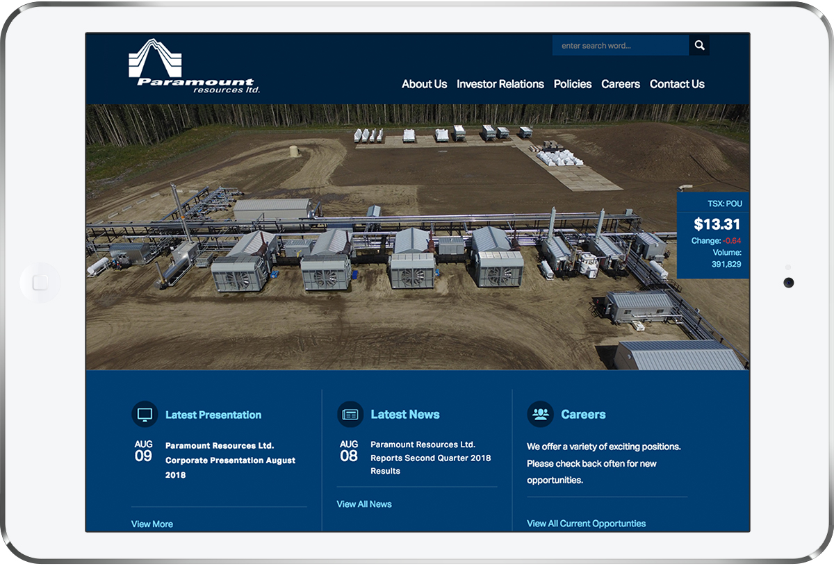 Paramount Resources Website Design – nonfiction studios
